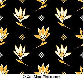 Flower seamless Pattern with white and yellow Flowers