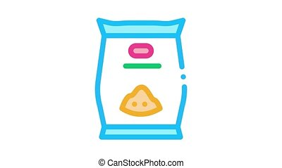 flower seeds bag Icon Animation. color flower seeds bag animated icon on white background