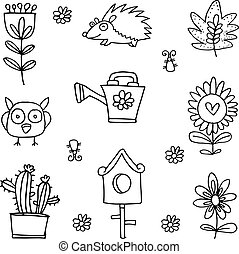 Flower set spring of doodles