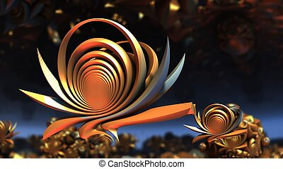 Flower shape golden shiny fractal