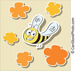 Flower-shaped Paper Tags and Cartoon Bee