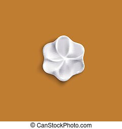 Flower shaped whipped cream piece from top view - isolated vector illustration.