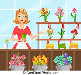 Flower Shop, Cheerful Young Woman Florist in Apron Making Bouquet of Flowers Flat Vector Illustration