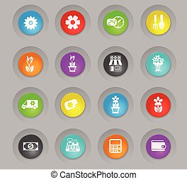 flower shop colored plastic round buttons icon set