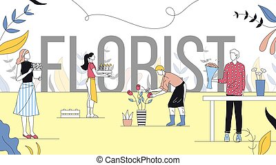 Flower Shop Concept. Saleswoman And Man Make Beautiful Bouquets Of Flowers In Florist Store. People Customers Buy Flowers For Present And Home. Cartoon Linear Outline Flat Style. Vector Illustration