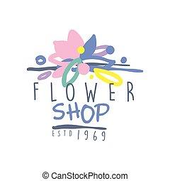 Flower shop estd 1969 logo template colorful hand drawn...