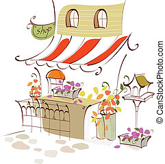 Flower shop exterior - This illustration is a common...