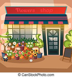 Flower shop facade flat design