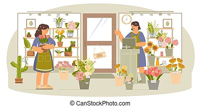 Flower Shop Flat Composition