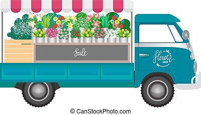 Flower shop. Flowers shop mobile on wheels. Vector...