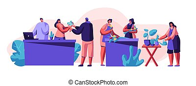 Flower Shop. Girls Caring of Plants in Pots, Making Design Compositions, Customers Visiting Store for Choosing and Buying Flower Bouquets, Florist Profession, Job. Cartoon Flat Vector Illustration