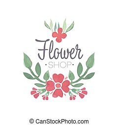 Flower shop green and red logo template, label or badge in...