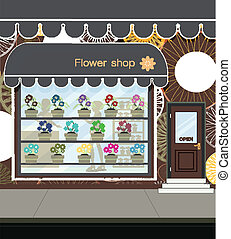 Flower shop. -  Flower shop at the street in city