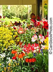 Flower shop in spring