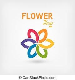 flower shop logo design rainbow colors