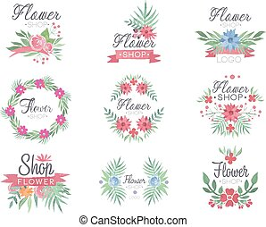 Flower shop logo design set of colorful watercolor vector Illustrations