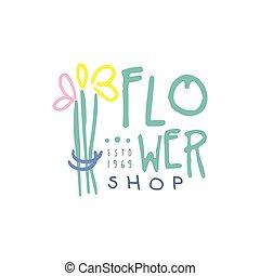 Flower shop logo estd 1969, element for floral boutique,...