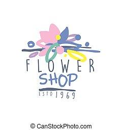 Flower shop logo estd 1969, vintage badge for floral...