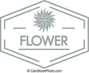 Flower shop logo, simple gray style