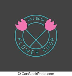 Flower shop logo vector. Florist sign