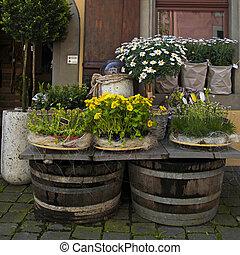 Flower shop on the old town street (Switzerland).