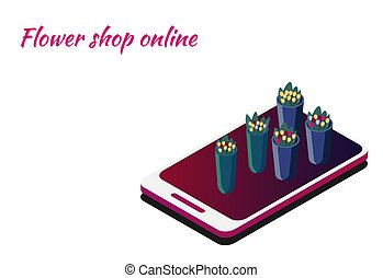Flower shop online. Isometric smartphone for ordering colors. Delivery of flowers by request. Flower vases and flowers to choose from.