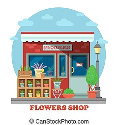 Flower shop or store side view on building exterior with leatherleaf-fern in flowerpot and may-lily in wooden box, cactus. For trading and shopping, business and gift, nature theme