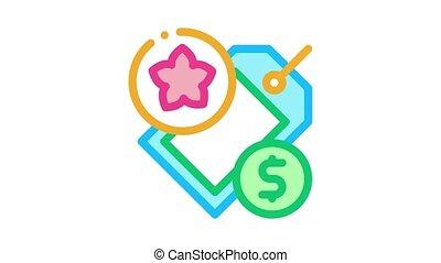 flower shop price label Icon Animation. color flower shop price label animated icon on white background