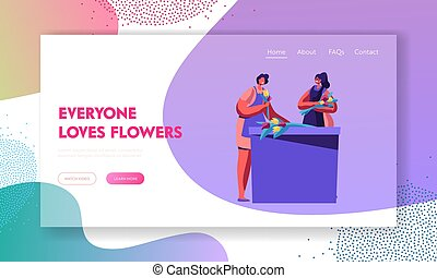 Flower Shop Stuff Making Flower Bouquets, Creating Design Compositions for Customers or Clients. Florist Profession, Job. Website Landing Page, Web Page. Cartoon Flat Vector Illustration, Banner