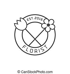 Flower shop vector logo