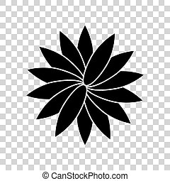 Flower sign. Black icon on transparent background.