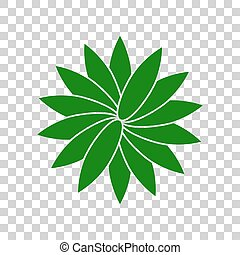 Flower sign. Dark green icon on transparent background.