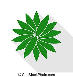 Flower sign. Green icon with flat style shadow path.