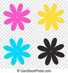 Flower sign illustration. CMYK icons on transparent background.