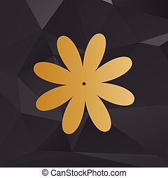 Flower sign illustration. Golden style on background with polygons.