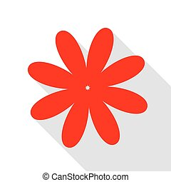 Flower sign illustration. Red icon with flat style shadow path.