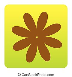 Flower sign illustration. Vector. Brown icon at green-yellow gradient square with rounded corners on white background. Isolated.