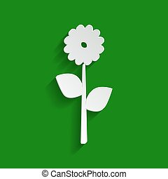 Flower sign illustration. Vector. Paper whitish icon with soft shadow on green background.