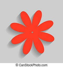 Flower sign illustration. Vector. Red icon with soft shadow on gray background.