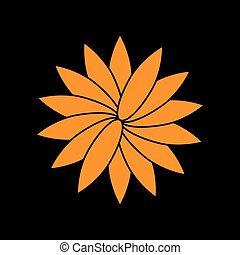 Flower sign. Orange icon on black background. Old phosphor monitor. CRT.