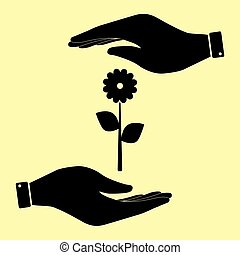 Save or protect symbol by hands. - Flower sign. Save or...