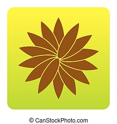 Flower sign. Vector. Brown icon at green-yellow gradient square with rounded corners on white background. Isolated.