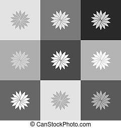 Flower sign. Vector. Grayscale version of Popart-style icon.