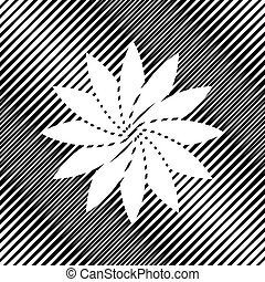 Flower sign. Vector. Icon. Hole in moire background.