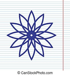 Flower sign. Vector. Navy line icon on notebook paper as background with red line for field.