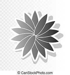 Flower sign. Vector. New year blackish icon on transparent background with transition.