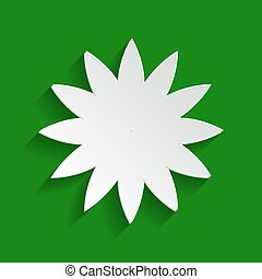 Flower sign. Vector. Paper whitish icon with soft shadow on green background.
