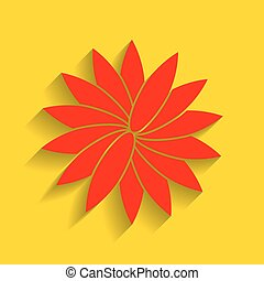 Flower sign. Vector. Red icon with soft shadow on golden background.