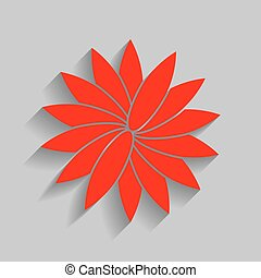 Flower sign. Vector. Red icon with soft shadow on gray background.