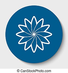 Flower sign. Vector. White contour icon in dark cerulean circle at white background. Isolated.